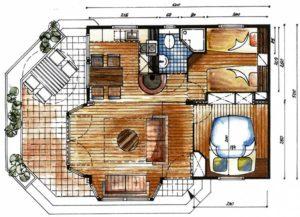 Plan funkcjonalny mieszkania - przykład układu desek podłogowych