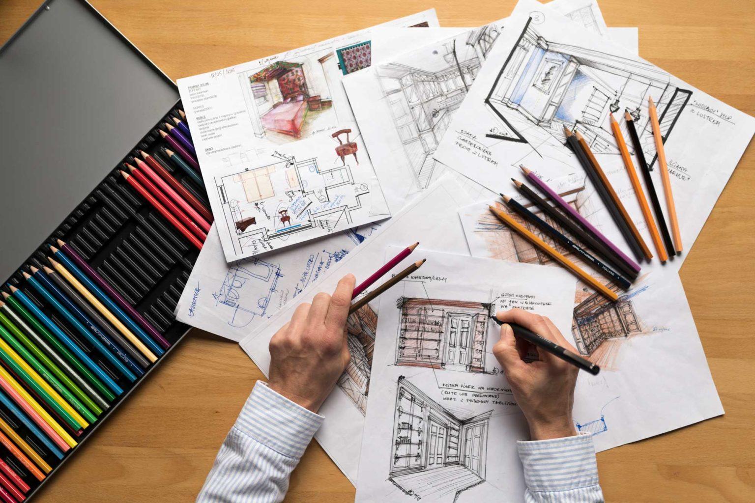 Architekt wnętrz podczas pracy
