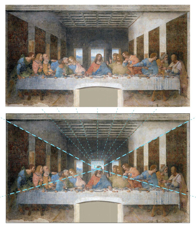 Ostatnia Wieczerza Leonardo perspektywa linearna
